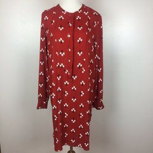 Old Navy Shift Dress Red Geo Printed Long Sleeve M
